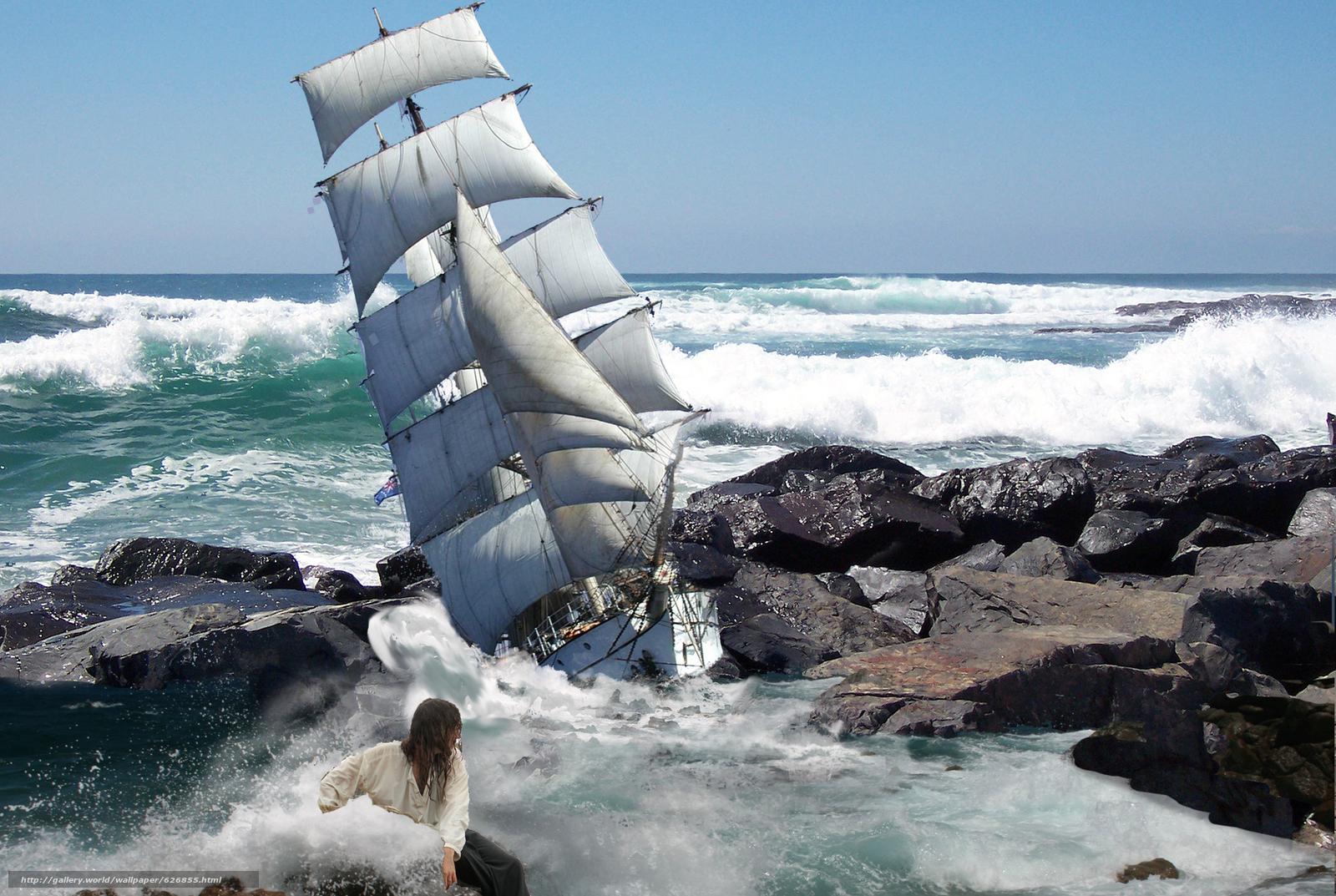 Скачать на телефон обои фото картинку на тему море, шторм, корабль, скалы, разширение 1920x1287