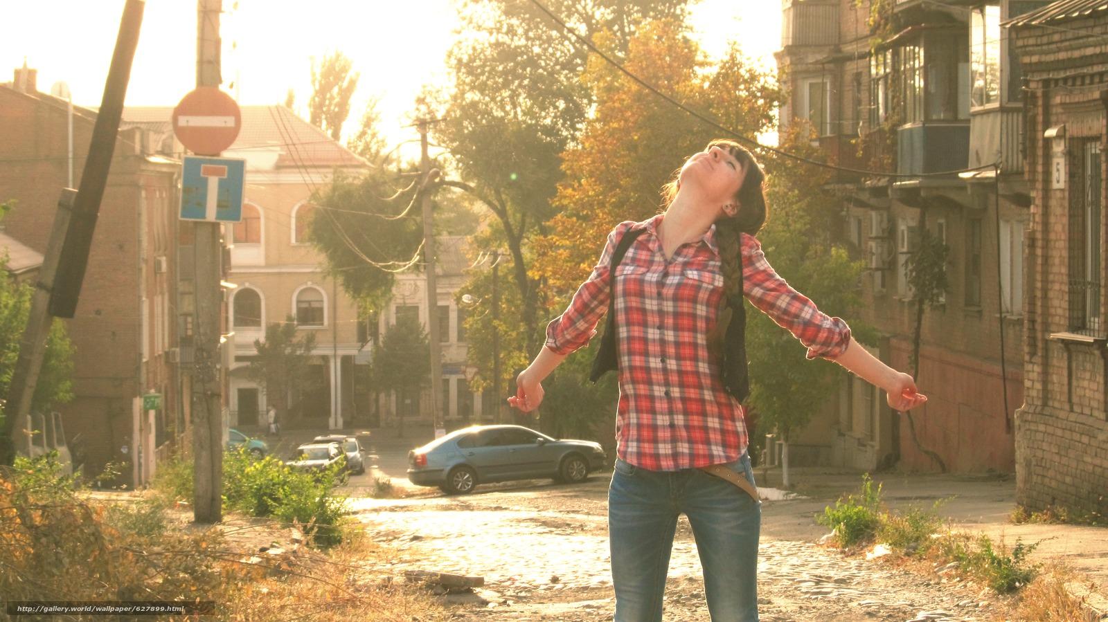 Скачать на телефон обои фото картинку на тему Девушка, Солнце, Осень, разширение 3744x2104