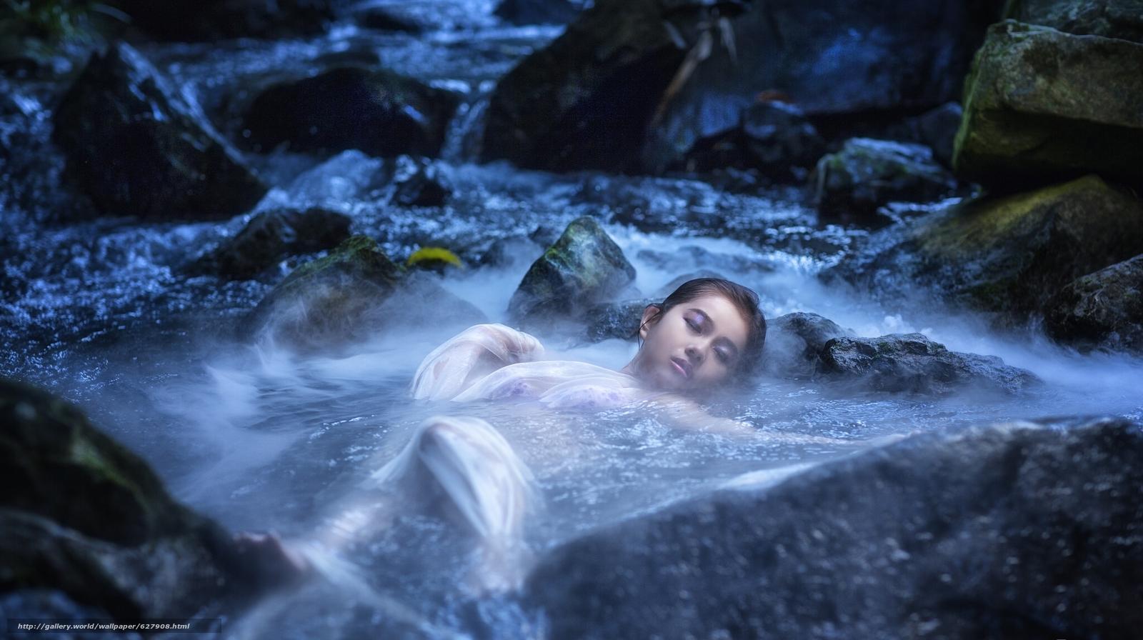 Скачать на телефон обои фото картинку на тему азиатка, вода, река, камни, настроение, разширение 2048x1147