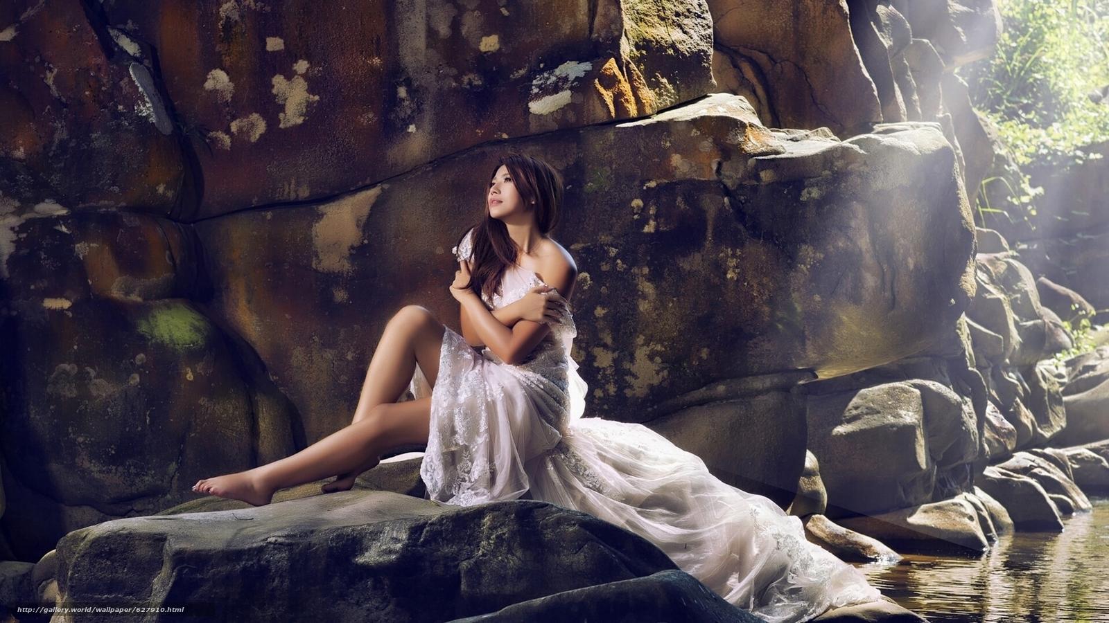 Скачать на телефон обои фото картинку на тему азиатка, невеста, платье, настроение, камни, разширение 1920x1080