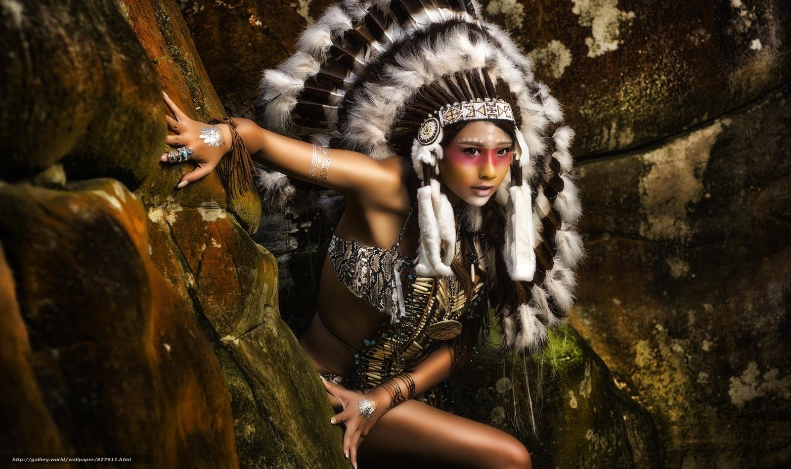 Скачать на телефон обои фото картинку на тему индианка, скво, раскрас, роуч, перья, разширение 2048x1216