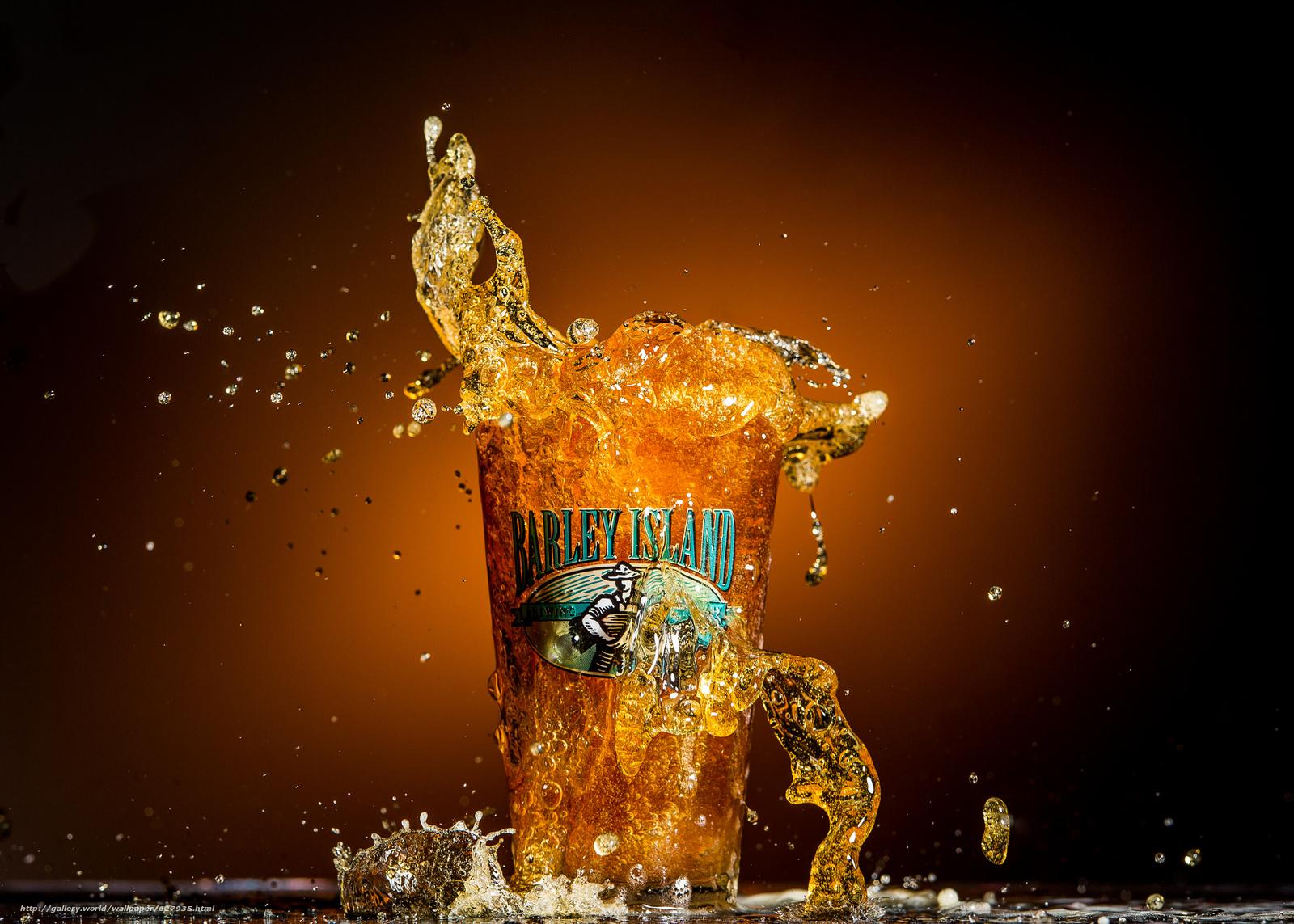 Скачать на телефон обои фото картинку на тему Barley Island Beer, пиво, всплеск, стакан, макро, разширение 2048x1463