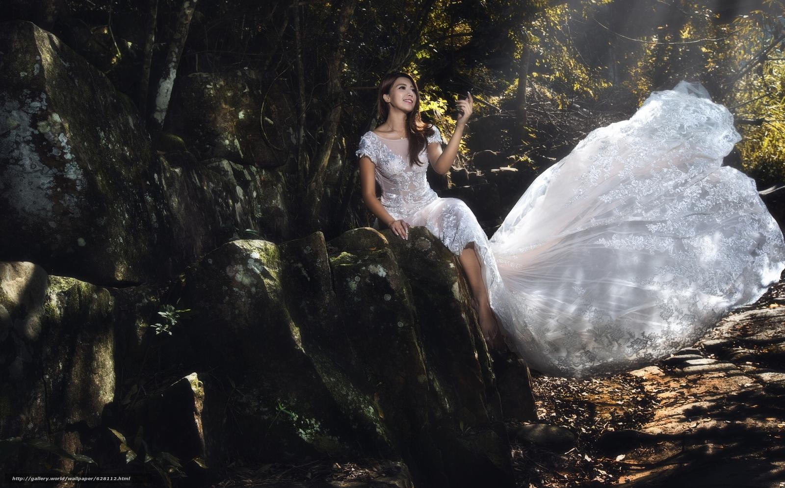 Скачать на телефон обои фото картинку на тему азиатка, свадебное платье, платье, настроение, разширение 2048x1274