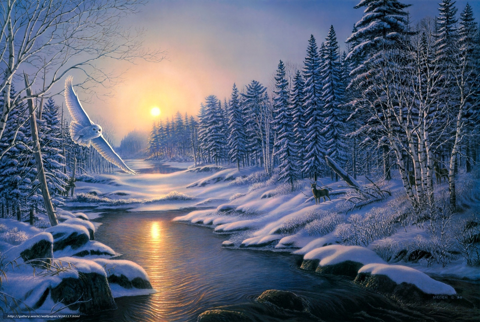 Скачать на телефон обои фото картинку на тему зима, закат, лес, деревья, река, сова, пейзаж, живопись, разширение 2730x1830
