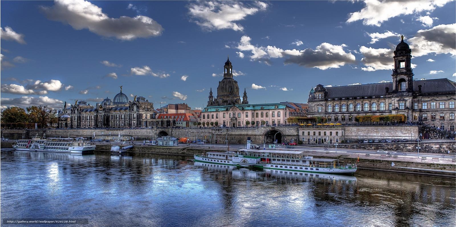 Скачать на телефон обои фото картинку на тему Дрезден, Германия, река Эльба, разширение 3547x1772