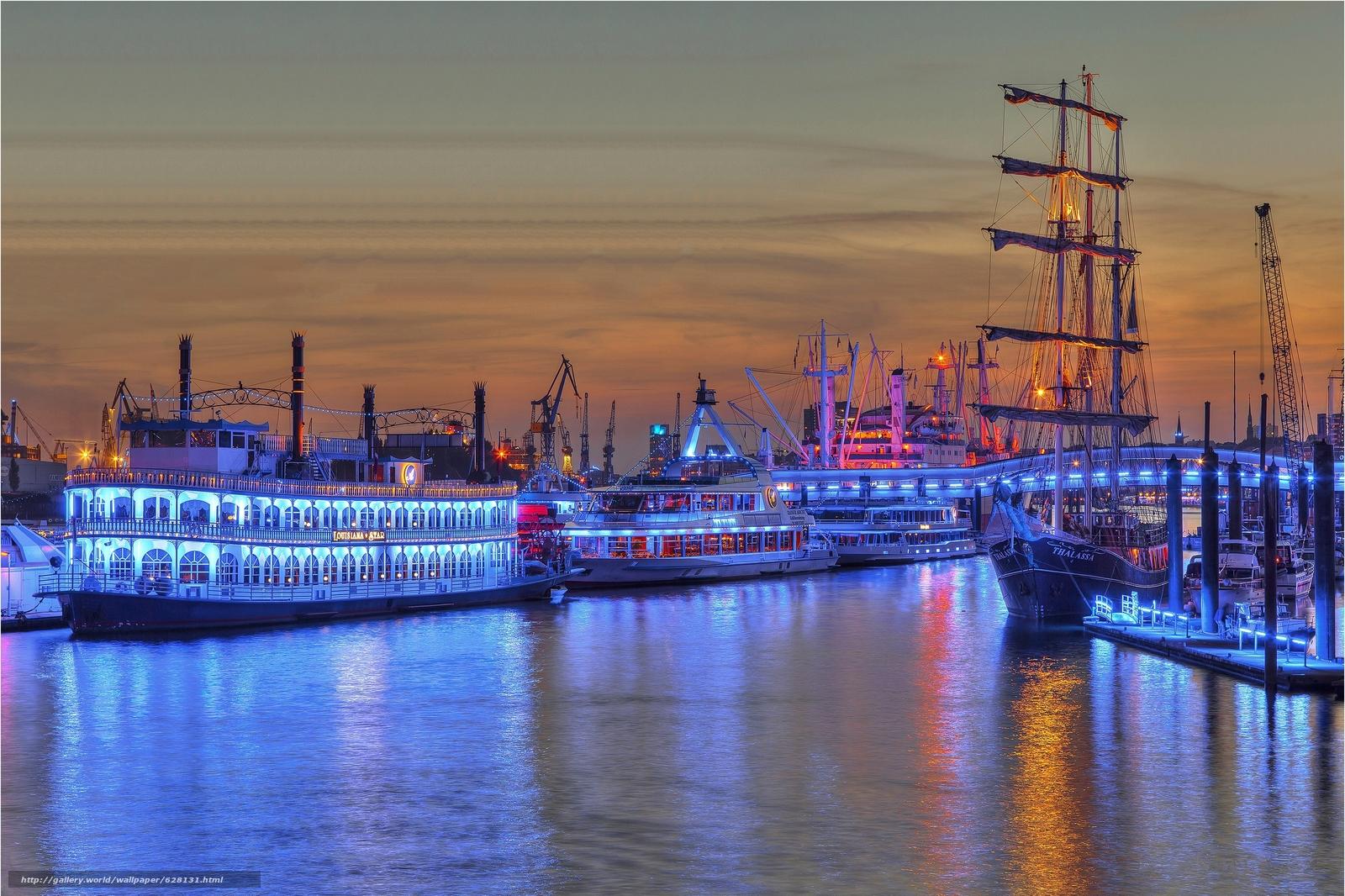 Скачать на телефон обои фото картинку на тему Синий Порт, Гамбург, германия, разширение 3547x2364