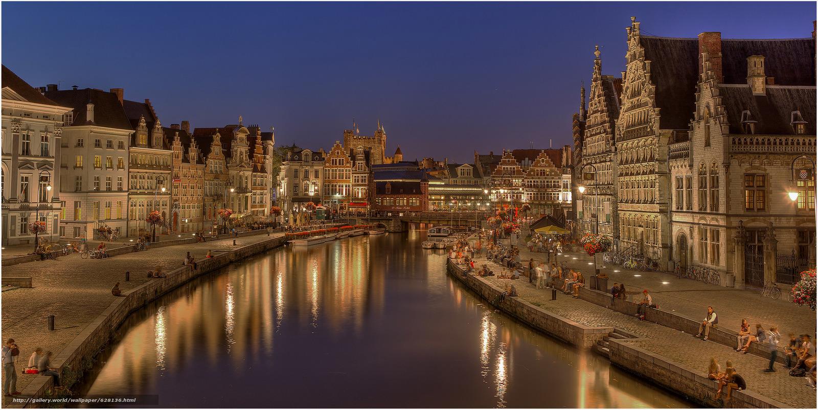 Скачать на телефон обои фото картинку на тему Гент, Gent, город во Фландрии, в Бельгии, Belgium, разширение 3555x1783