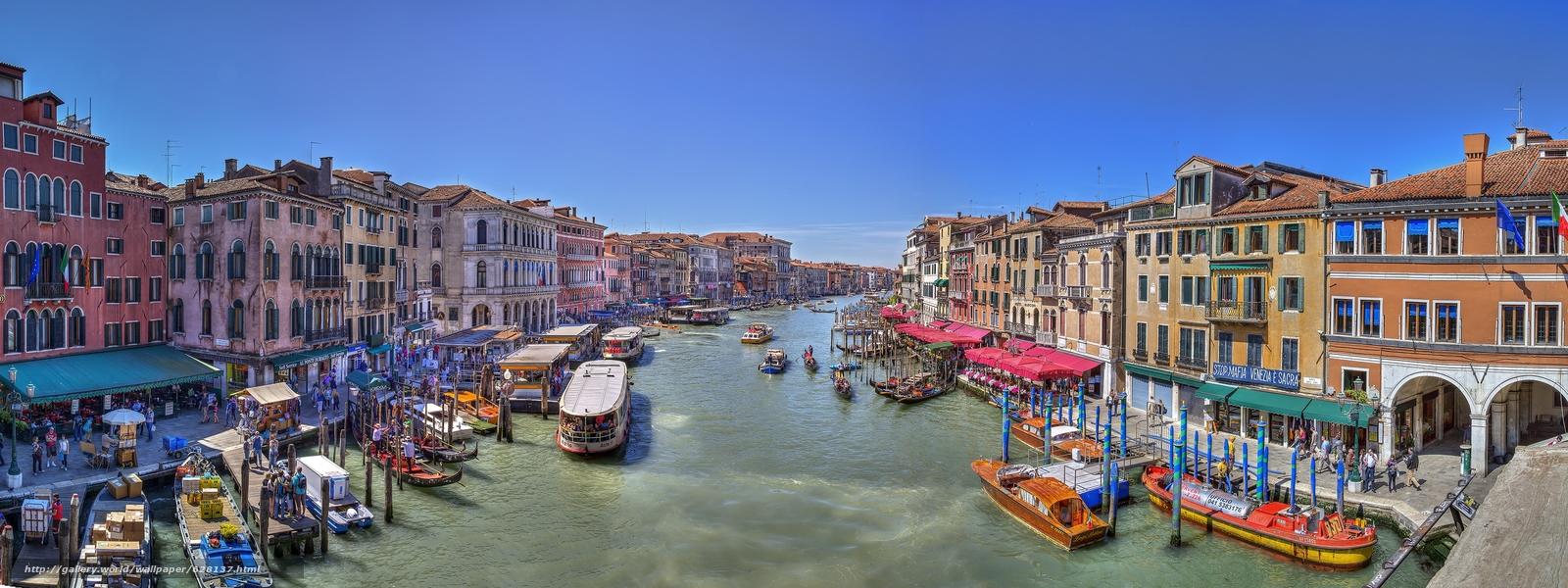 Скачать на телефон обои фото картинку на тему Grand Canal, Venice, венеция, разширение 3543x1329