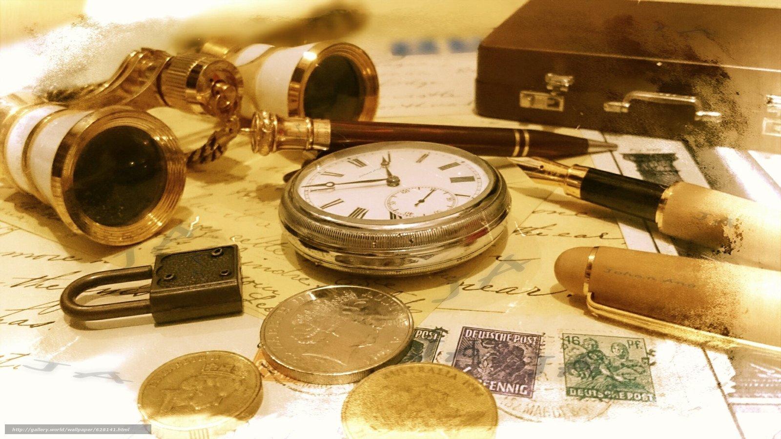 Скачать на телефон обои фото картинку на тему деньги, часы, бинокль, ручка, разширение 1920x1080