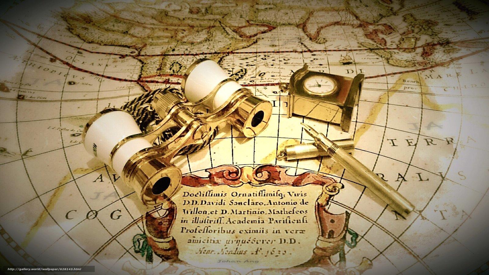Скачать на телефон обои фото картинку на тему карта, часы, бинокль, ручка, разширение 1920x1080