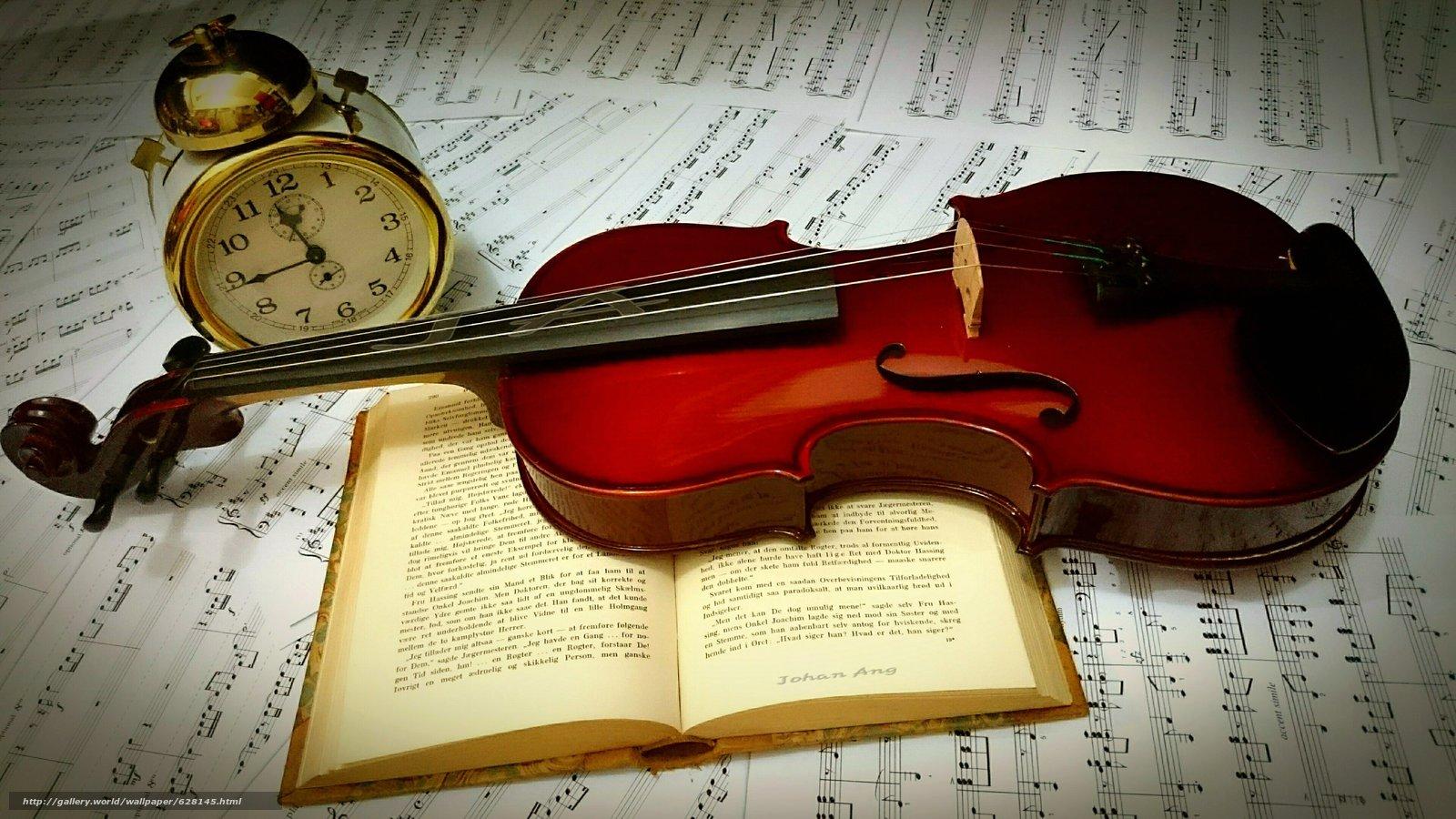 Скачать на телефон обои фото картинку на тему скрипка, книга, будильник, разширение 3840x2160