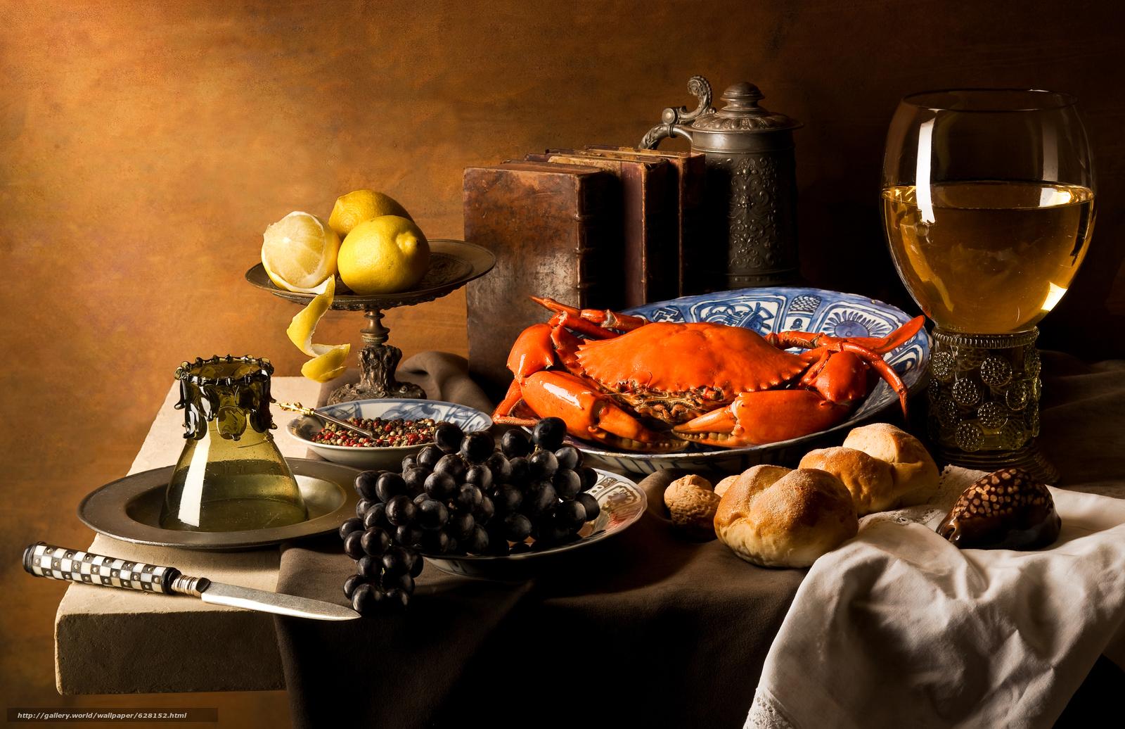 Скачать на телефон обои фото картинку на тему еда, виноград, краб, лимоны, разширение 4196x2717