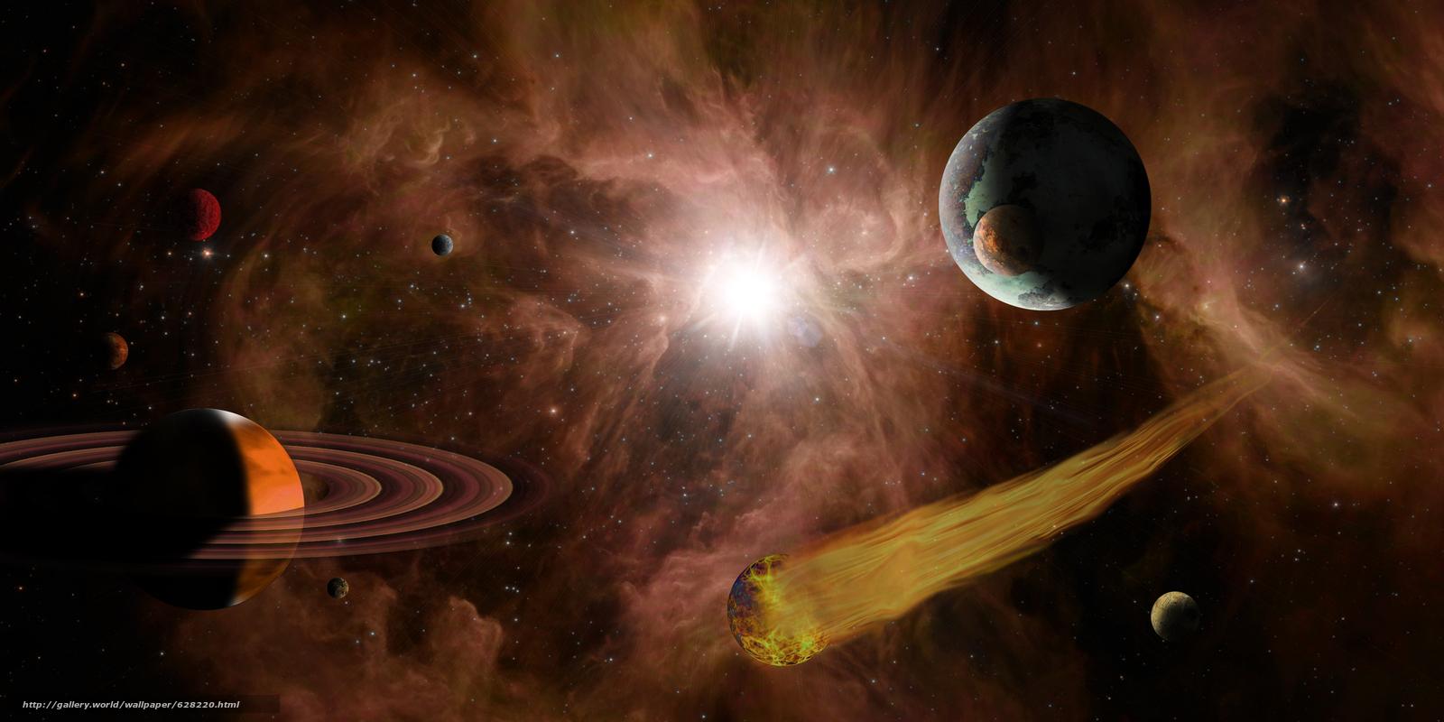 Скачать на телефон обои фото картинку на тему космос, 3d, art, разширение 5000x2500