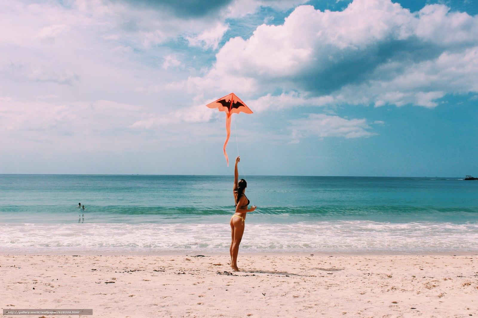 Скачать на телефон обои фото картинку на тему природа, пляж, девушка, разширение 2560x1707