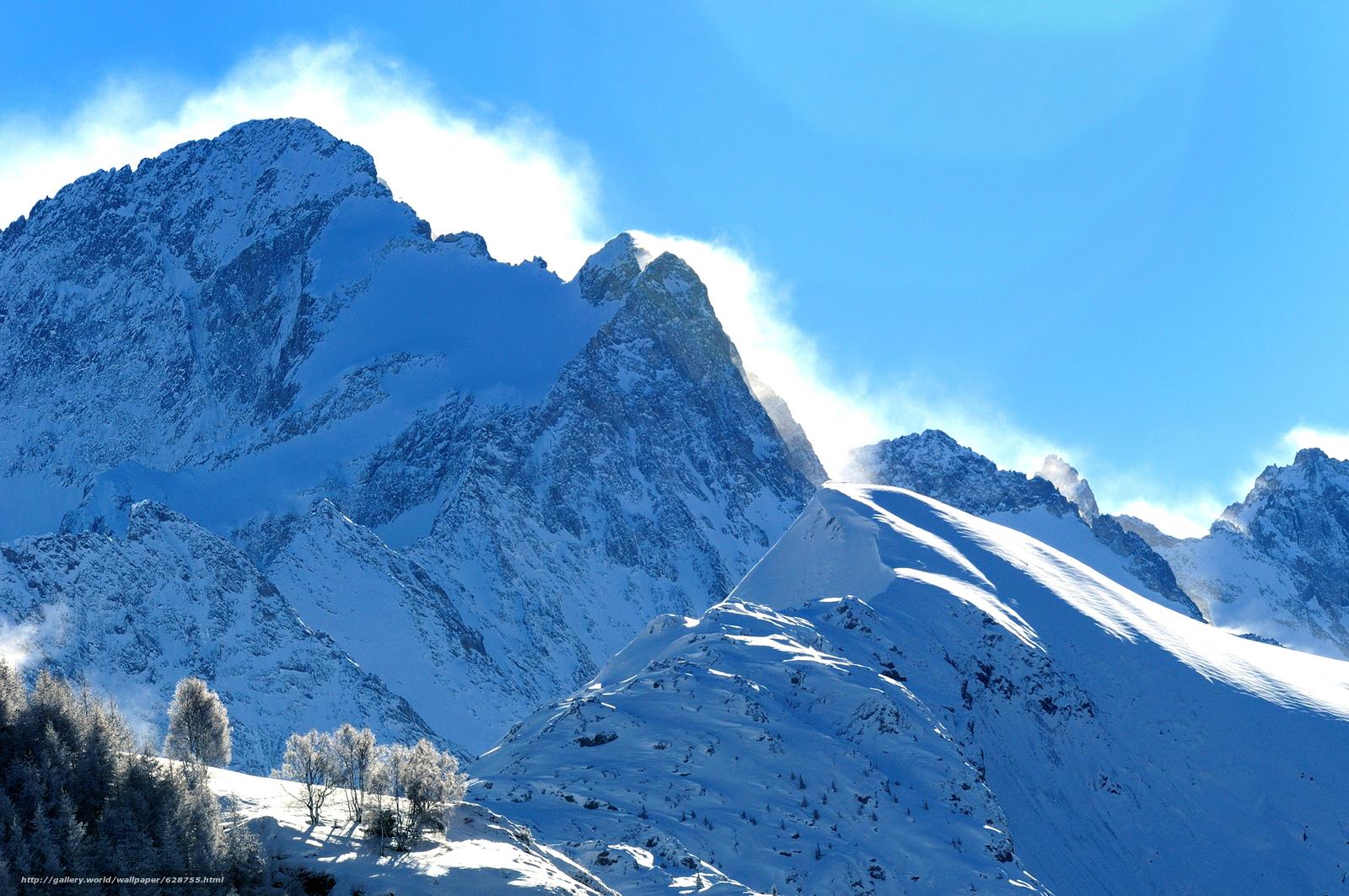 inverno, ?rvores, neve, paisagem, Montanhas