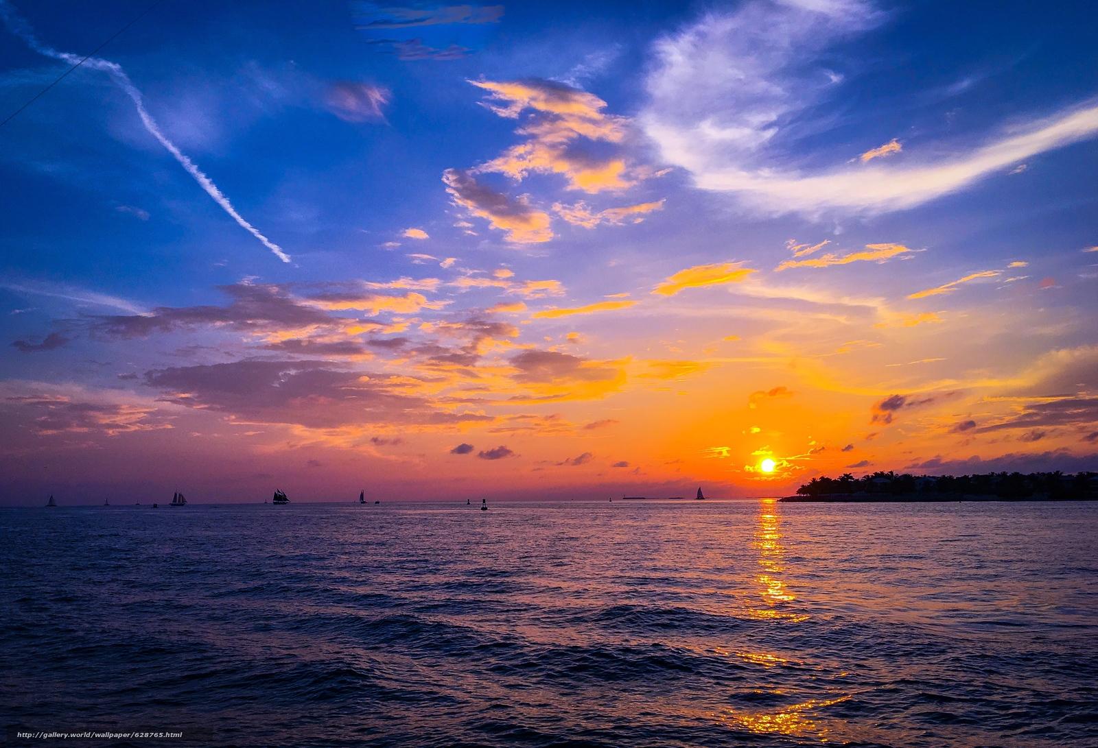 парусники, пейзаж, море, закат