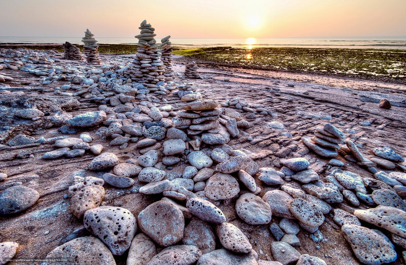 costa, pedras, mar, paisagem, p?r do sol