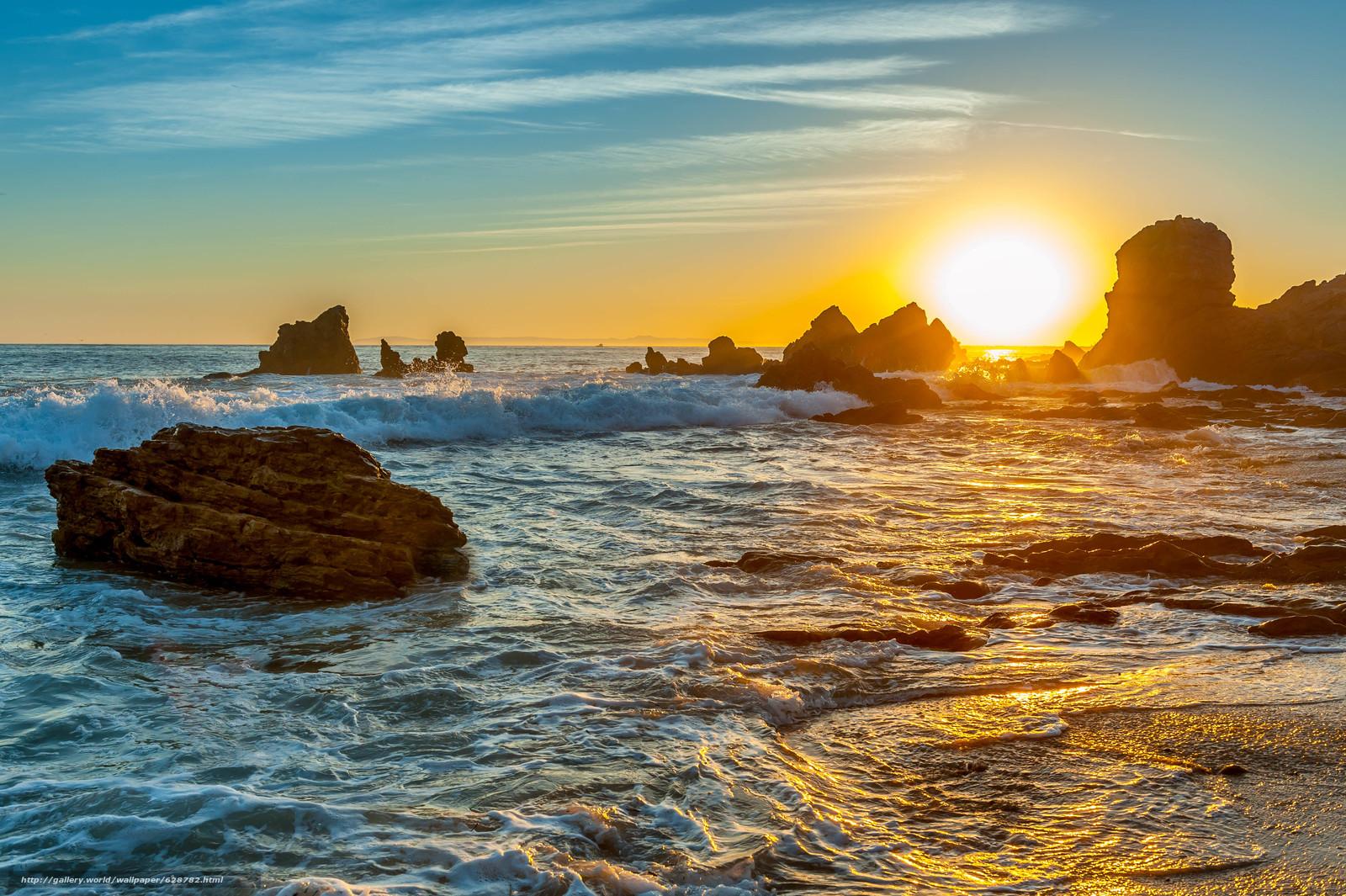 волны, скалы, закат, пейзаж, море