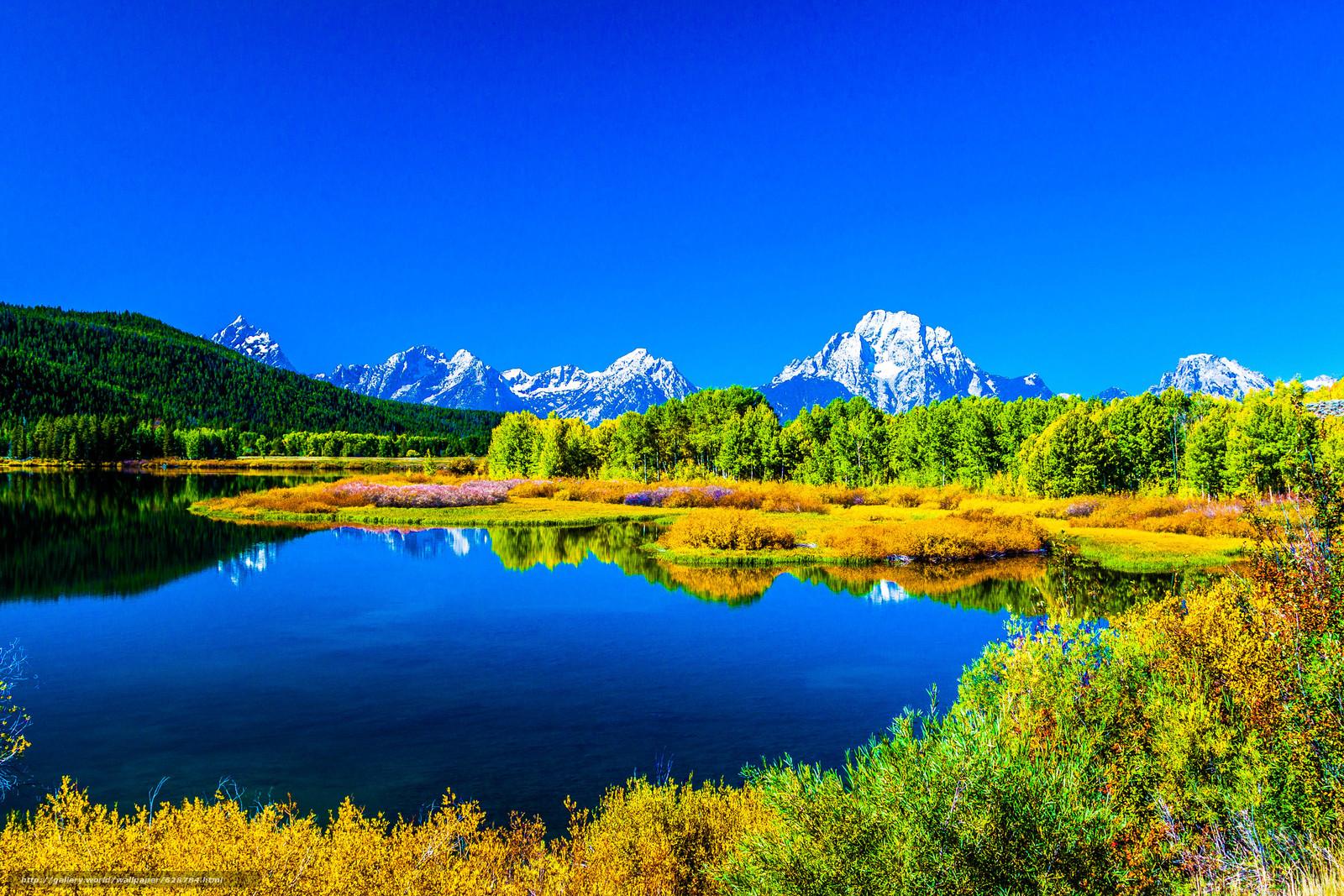 деревья, осень, горы, пейзаж, озеро