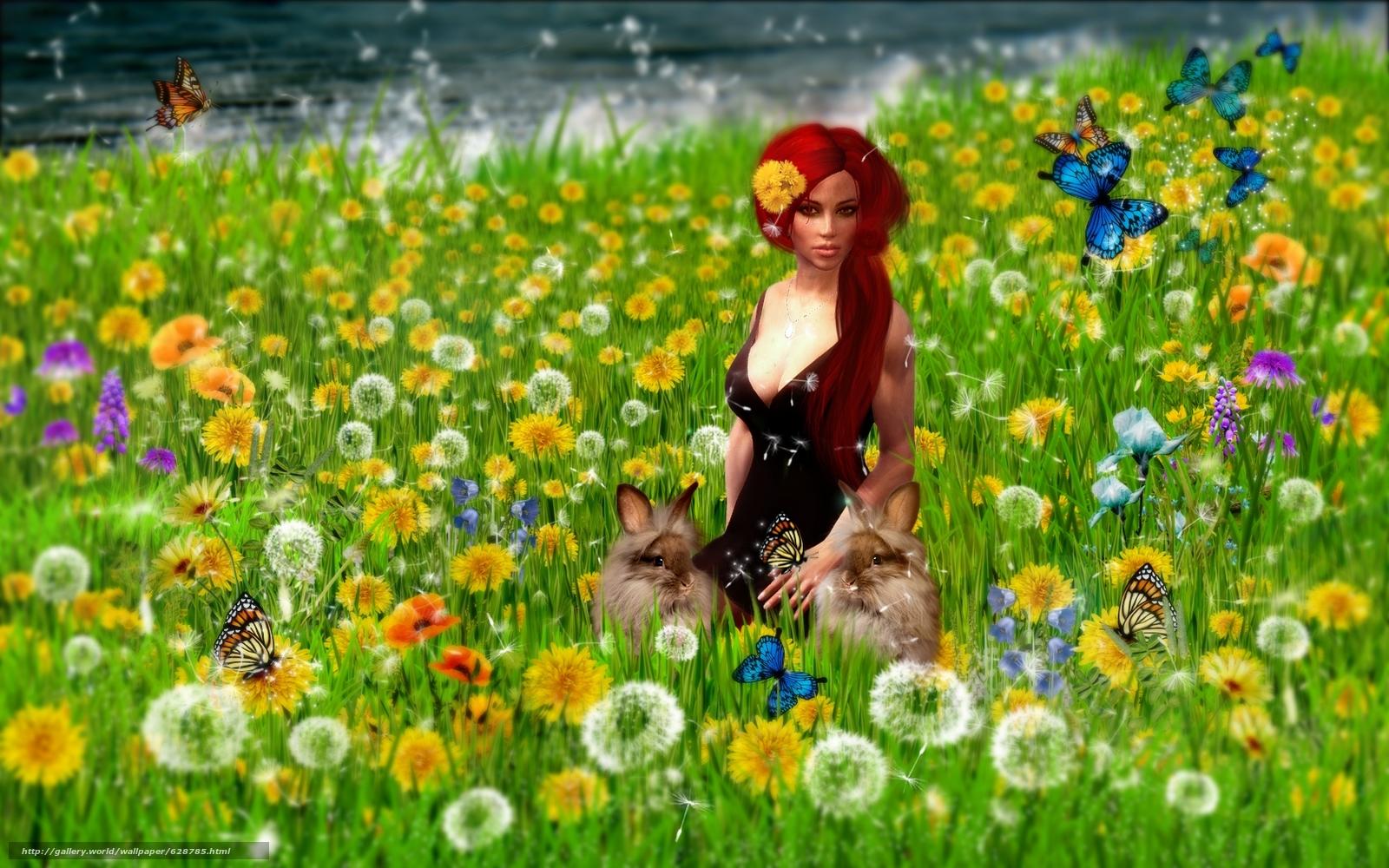 кролики, art, девушка, поле