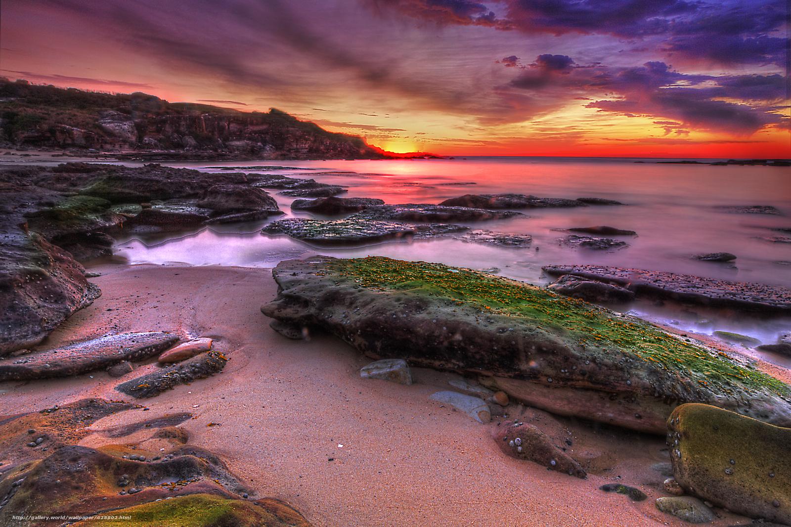 скалы, берег, море, пейзаж, закат