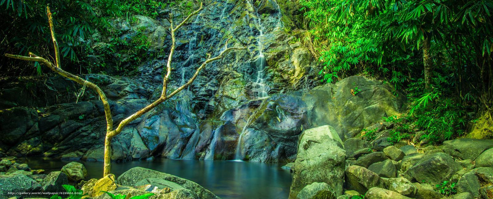 водопад, водоём, камни, деревья, скалы, природа