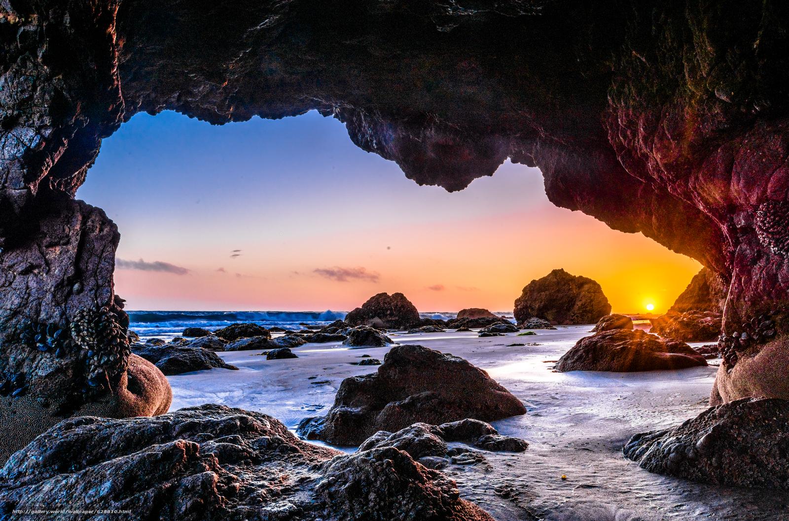 p?r do sol, mar, Rochas, Malibu, arco, paisagem