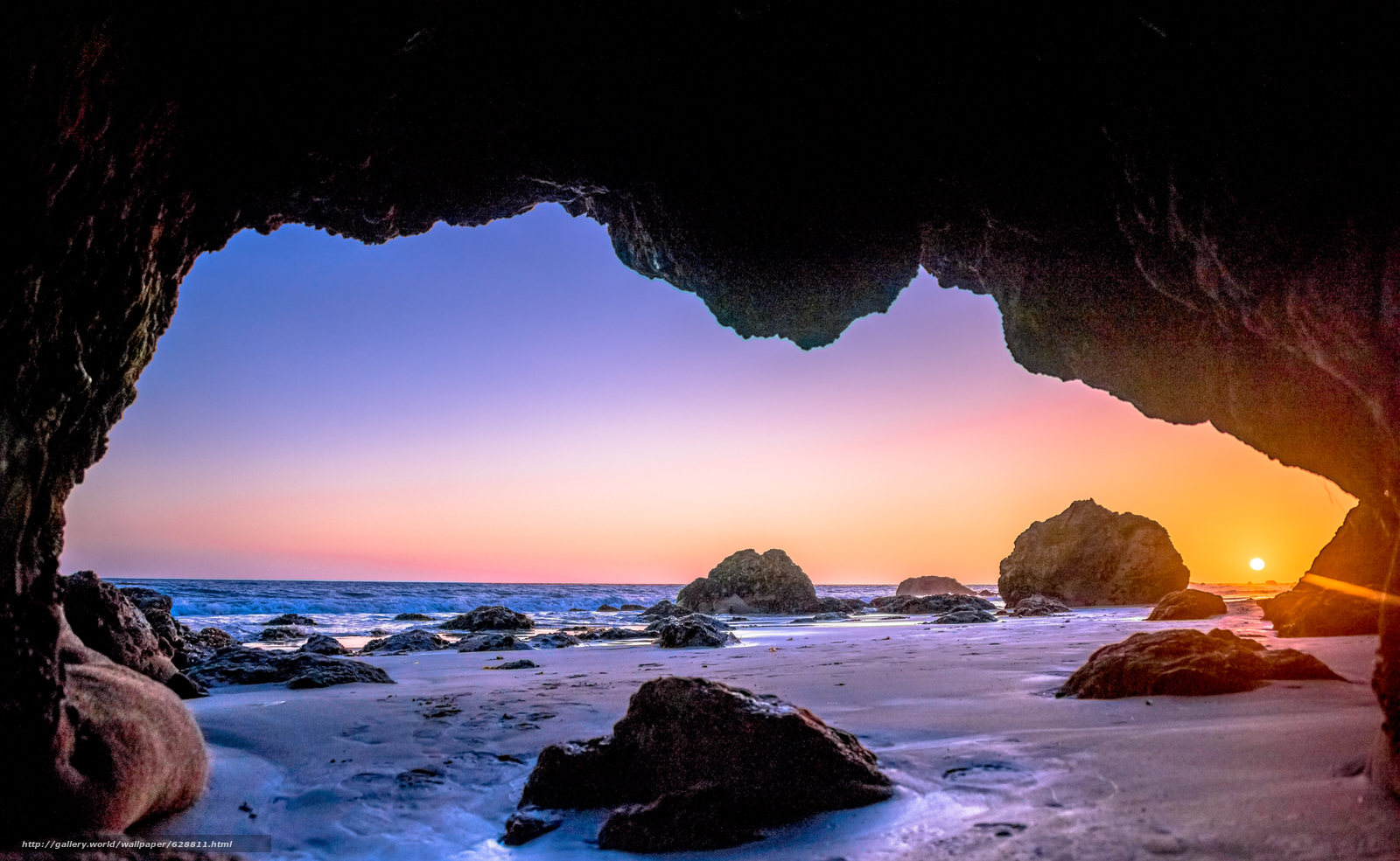 закат, море, Sunset, скалы, Malibu, арка, пейзаж