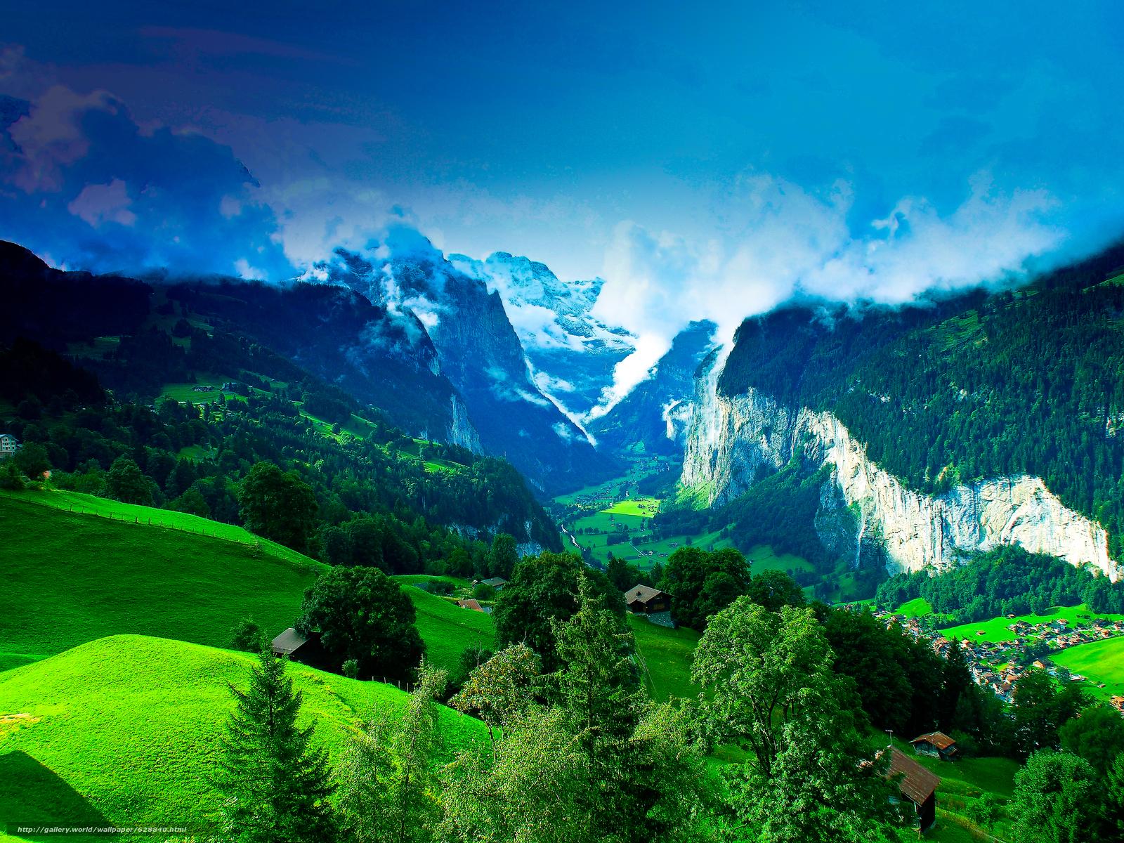деревья, дома, холмы, италия, горы, пейзаж
