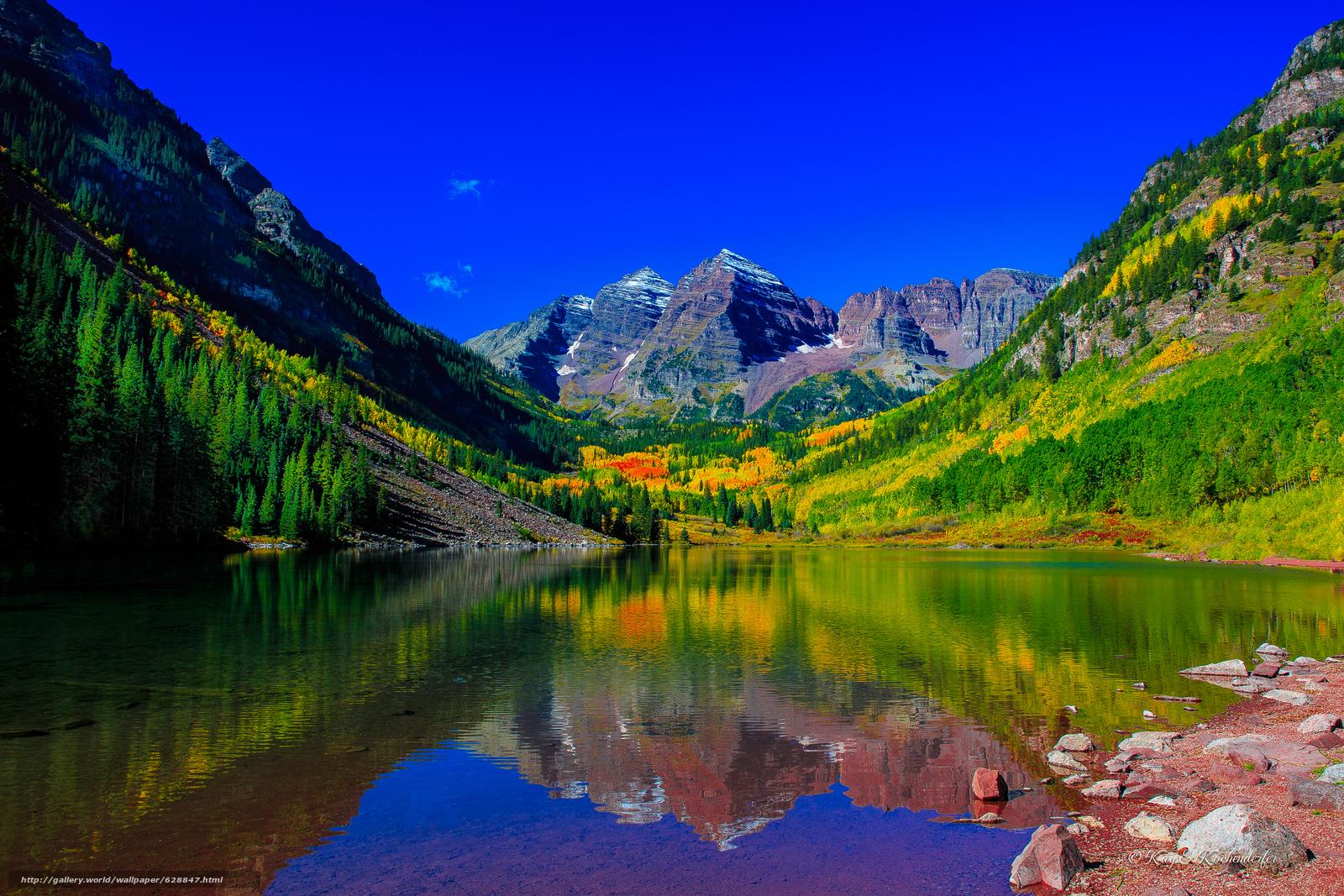 Скачать на телефон обои фото картинку на тему Maroon Bells, Colorado.озеро, горы, деревья, осень, пейзаж, разширение 5402x3601