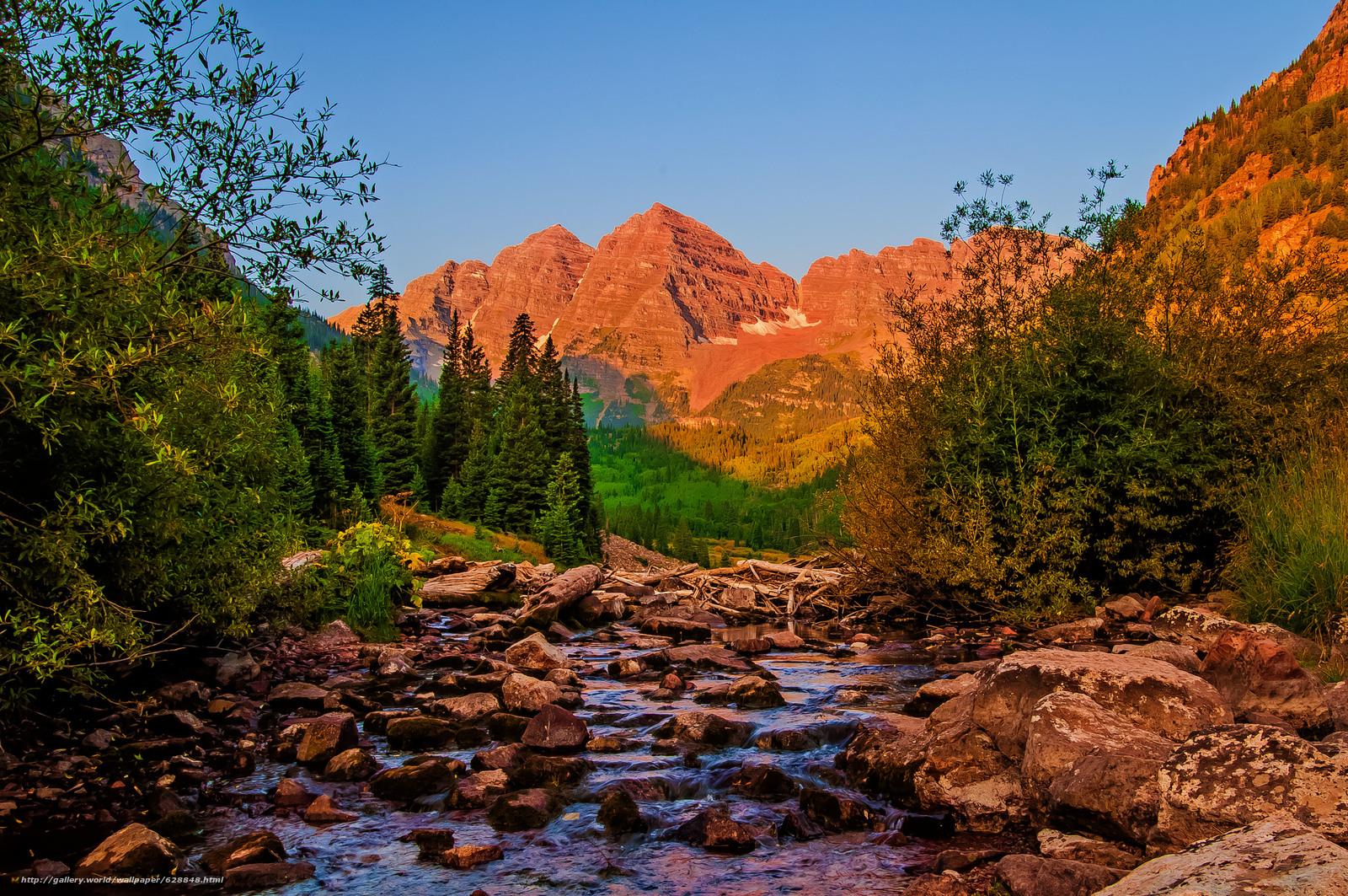 деревья, камни, горы, пейзаж, река, штат Колорадо
