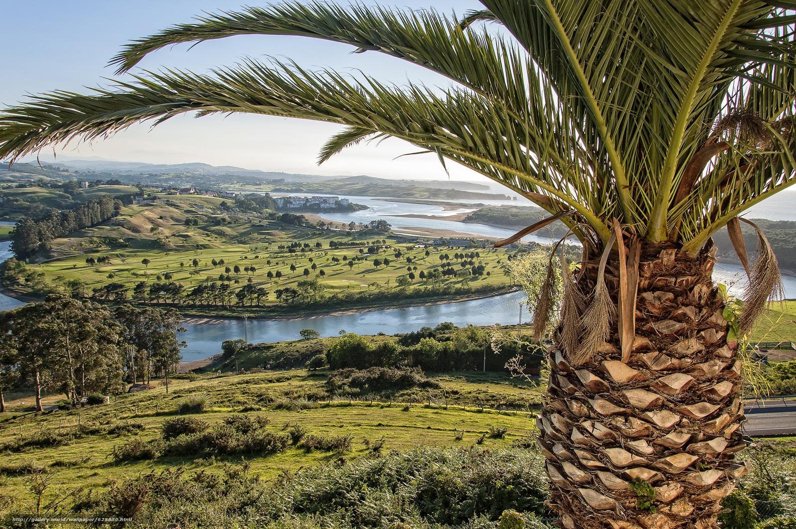 Обои Устье реки Пас, Кантабрия, вид с верху, пейзаж
