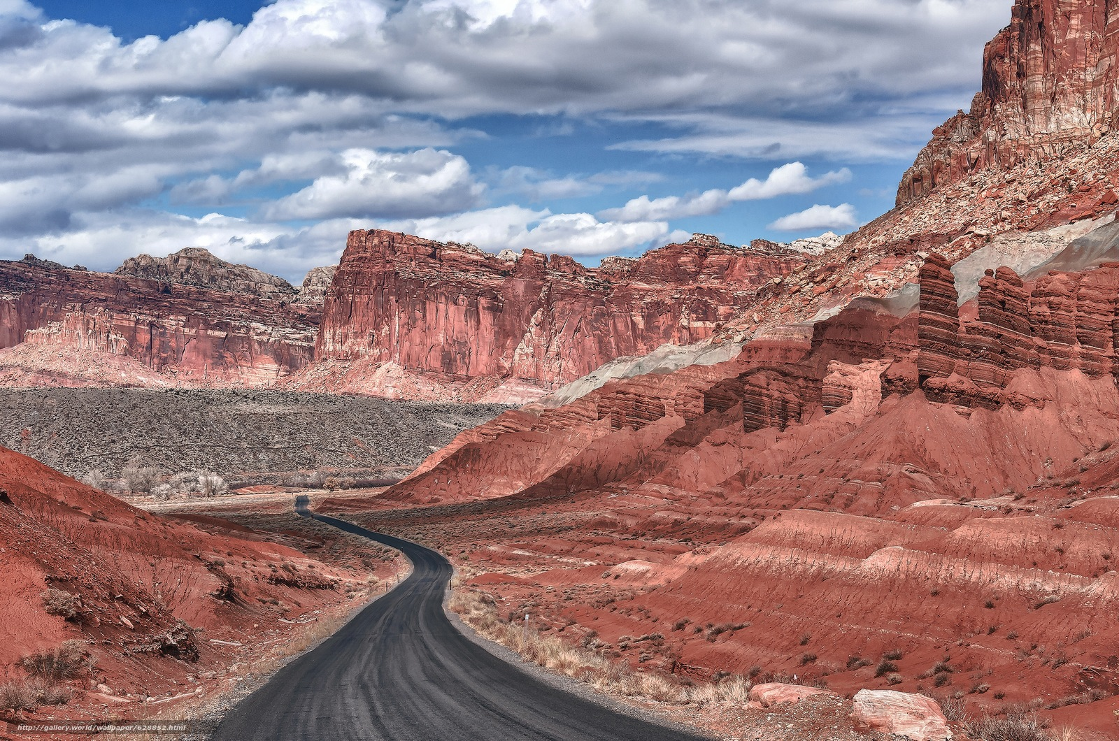 Mountains, landscape, road, Capitol Reef National Park