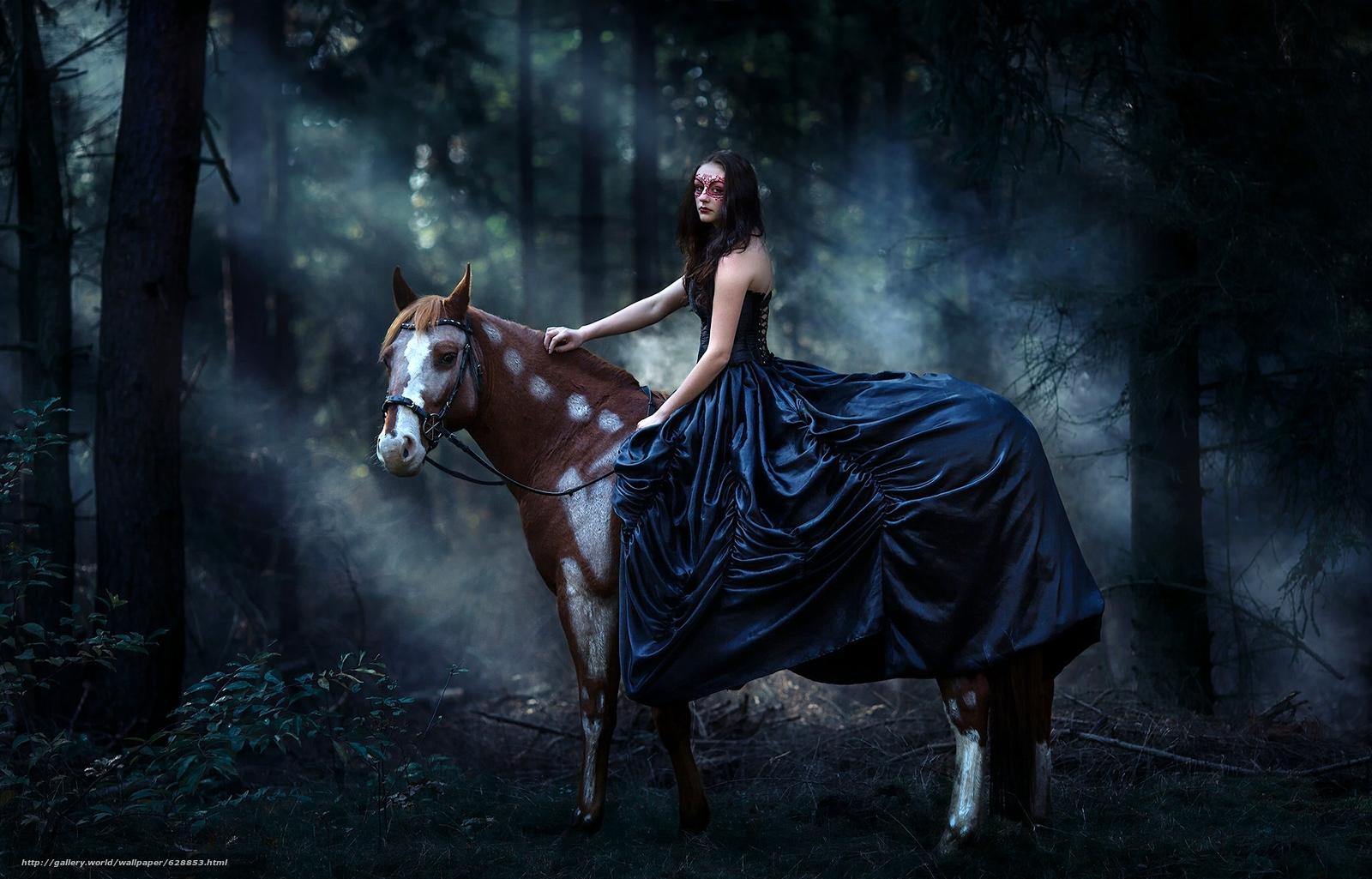 Обои девушка, платье, маска, конь, лошадь, лес