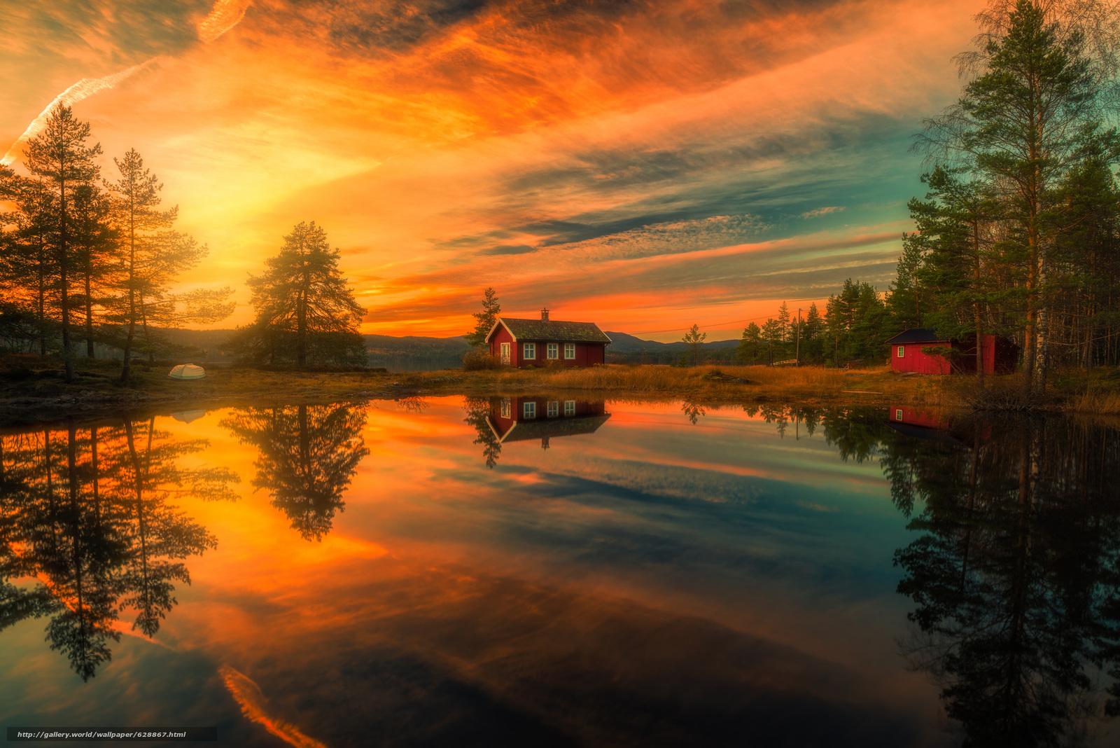 Обои Ringerike, Norway, Рингерике, Норвегия, озеро, отражение, дома, закат, деревья
