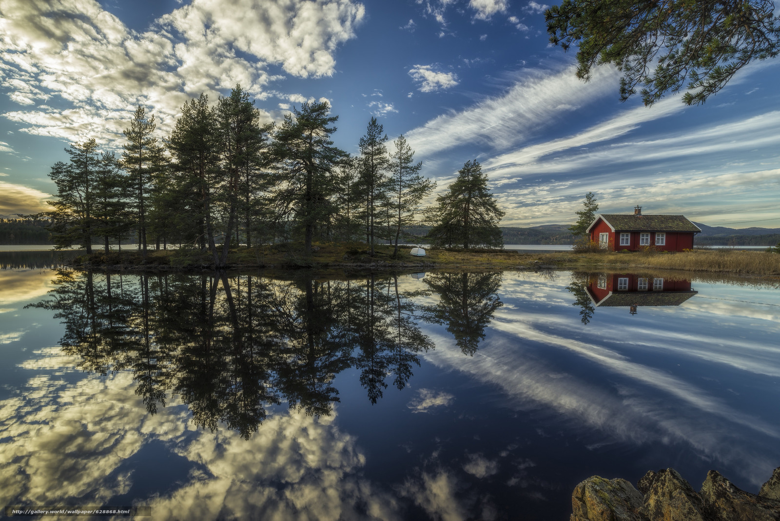 Обои Ringerike, Norway, Рингерике, Норвегия, озеро, отражение, дом, облака, деревья