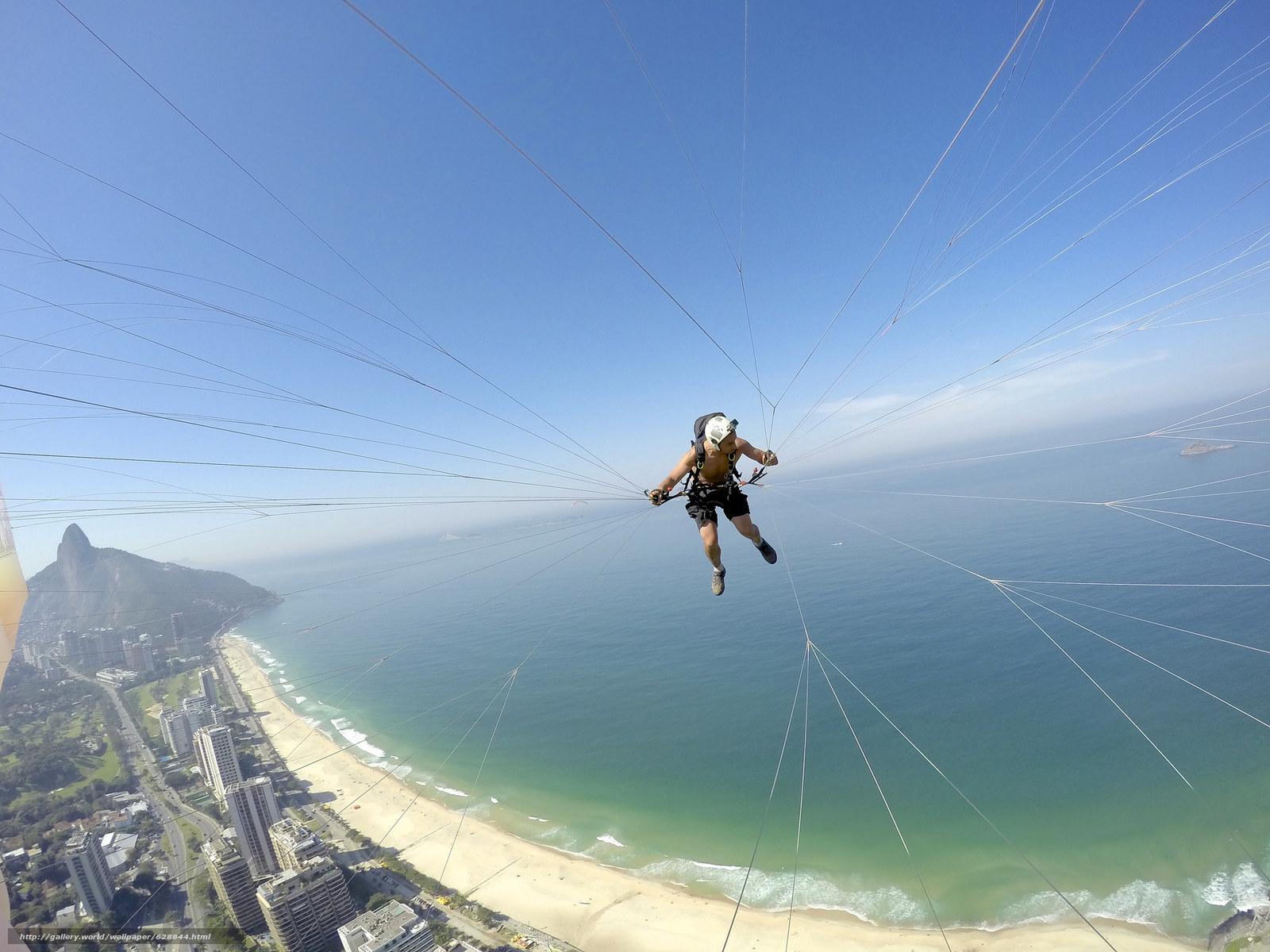 Обои полеты на параплане, параплан, пилот, камера, шлем, нить, пляж, море, островок, горизонт, небо, Бразилия, Рио-де-Жанейро, экстремальный спорт