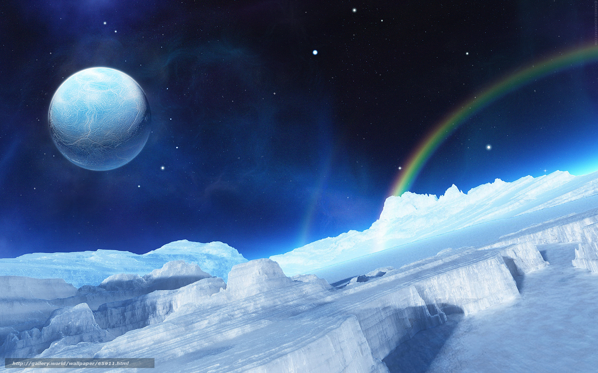 Скачать на телефон обои фото картинку на тему лёд, радуга, планета, разширение 2560x1600