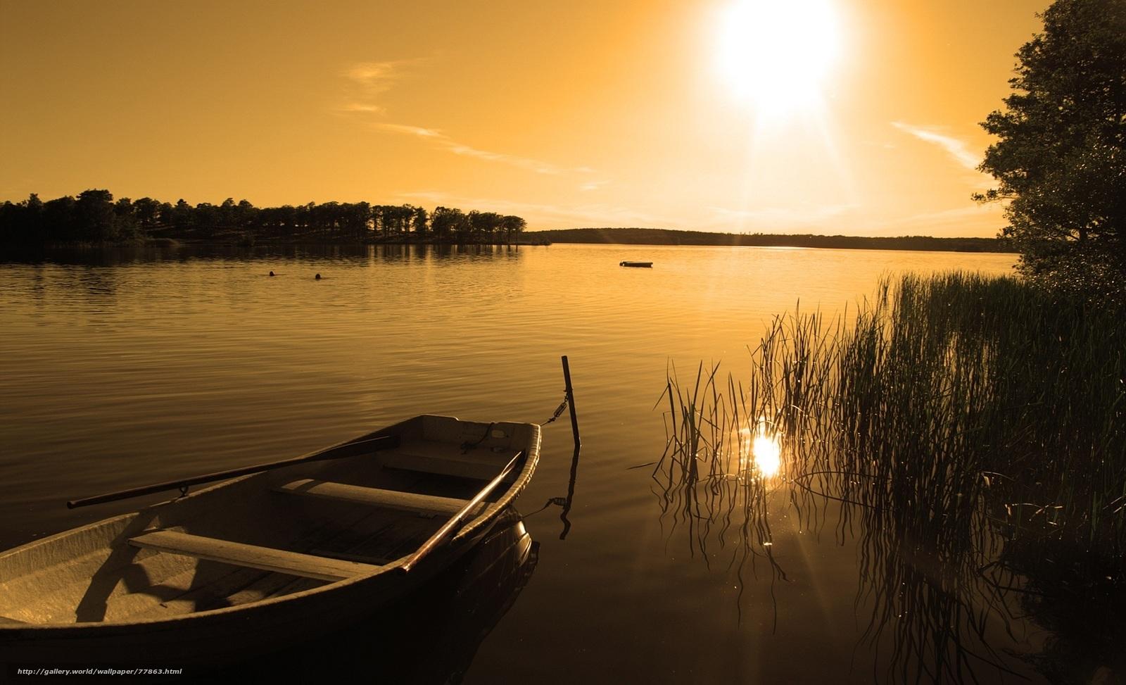 лодка на воде фон