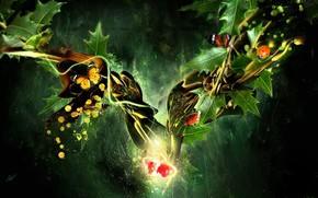 листья, коллаж, бабочки, вишня