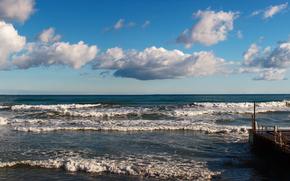 sea, sky, clouds, waves, wharf, panorama, surf