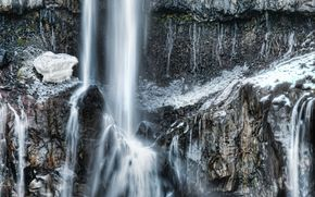 waterfall, winter, rock