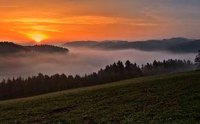 nebbia, Montagne, tramonto, panorama
