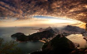 Rio, city, home, sunset, sky, clouds