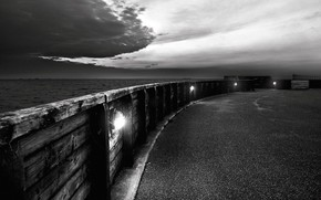 embankment, black and white, clouds
