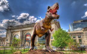 sculpture, dinosaur, building