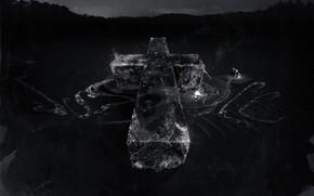 крест, серый фон, разводы