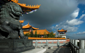 China, sculpture, dragon, home, sky, clouds