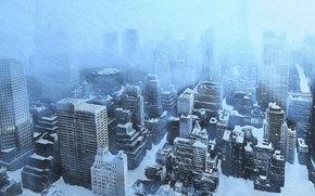 invierno, Rascacielos, nieve, ventisca, hielo, fro, casa, ver, Ciudad, derivas
