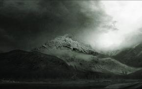 природа. пейзаж, горы. виды, красоты. чёрно-белое